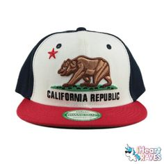 California Republic Snapback Hat - Classic Rave Accessories, Festival Gear, California Republic, Raves, Summer Styles, Headgear, Snapback Hats, Different Styles, What To Wear