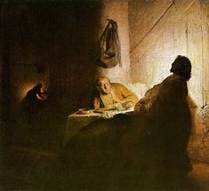 """""""Rembrandt's first Supper at Emmaus. It shows the exact moment when the two men realize that the person who has been accompanying them on their journey to Emmaus is their deceased master, not just some passer-by. One of the disciples falls on his knees, another recoils.    This early work shows Rembrandt's skill in handling light and darkness."""" via artbible"""