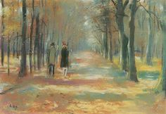 Walking couple in the forest. Lesser Ury.