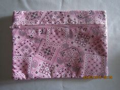 "8"" Cosmetic Bag / Make Up Bag / Pencil Pouch - Light Pink Bandana** by ShawnasSpecialties on Etsy"