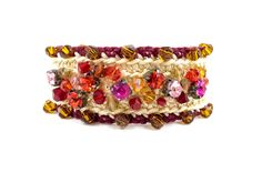 Bracelet artisan Boho chic Crochet with Faceted crystal set red