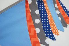 Gray, Orange, Blue Boy's Birthday Party Banner, Modern Bunting Baby Nursery - gray, grey, blue, navy, orange, white fabric flags - boy, girl...