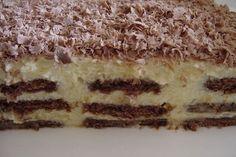 Sütés nélkül is készíthetsz finom édességet, ami tele van krémmel és nagyon csokis! Vigyázat, nagyon gyorsan elfogy! Hozzávalók: 45 dkg kakaós keksz 2 csomag Aranka… My Recipes, Cooking Recipes, Good Food, Yummy Food, Hungarian Recipes, Hungarian Food, No Bake Cake, Tiramisu, Breakfast Recipes
