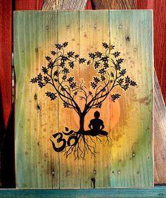 Bodhi Tree Om Pallet Art Upcycled Pallet Art by CryptobioticDesigns on Etsy Art Buddha, Buddha Kunst, Buddha Logo, Simbolos Tattoo, Yoga Kunst, Yoga Tattoos, Tatoos, Palette Art, Buddha Tattoos