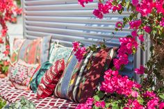 bougainvillea and a mix of Turkish and Moroccan pillows