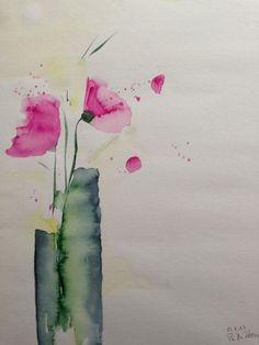 "Aquarell , "" Blumen in der Vase ""  30 x 40 cm , Unikat"