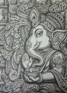 Ganesha design art with pen on paper / By : sukhdev Bhanderi Ahmedabad , india Ganesha Drawing, Lord Ganesha Paintings, Ganesha Art, Krishna Art, Ganesha Sketch, Krishna Painting, Kerala Mural Painting, Indian Art Paintings, Doodle Art Drawing
