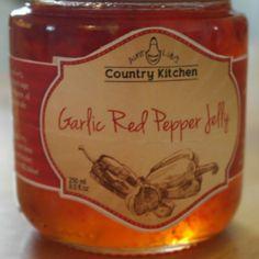 Garlic Red Pepper Jelly! Red Pepper Jelly, Red Peppers, Ottawa, Country Kitchen, Aunt, Whiskey Bottle, Garlic, Artisan, Lovers