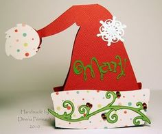 Merry Santa Hat w 30 Christmas Tags Handmade, Homemade Christmas Crafts, Christmas Card Crafts, Holiday Gift Tags, Christmas Projects, Holiday Cards, Cricut Design Studio, Shaped Cards, Paper Crafts