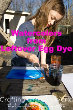 Did you know that you can paint with leftover Easter egg dye? The result is similar to watercolor painting, and it's a great way to use up leftover dye after you're done with your eggs.