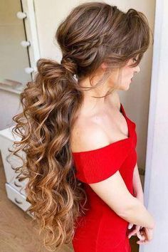 30 Unique Low Ponytail Ideas For Simple But Attractive Looks , Braided Pony With Long Bangs ❤ Still think that low ponytail is simple and boring? Well, our ideas are going to prove. Box Braids Hairstyles, Cute Hairstyles For Short Hair, Quick Hairstyles, Hairstyles Haircuts, Beautiful Hairstyles, Everyday Hairstyles, Hairstyle Ideas, Hair Ideas, Long Bangs