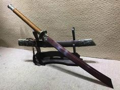 Broadsword/Kangxi dao/Damascus steel red blade/Alloy fittings/Rosewood scabbard Martial Arts Weapons, Weapons Guns, Chinese Broadsword, Arte Ninja, Types Of Swords, Master Sword, Cold Steel, Fantasy Weapons, Knives And Swords