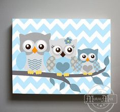 Baby Boy Nursery Art Chevron Owl - Owl Print for Nursery ,Baby Boy Owl Family…