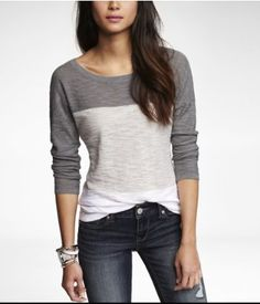 COLOR BLOCK ROLLED SLEEVE TUNIC SWEATER | Express