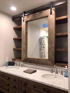 Barn door bathroom mirror and vanity Decorative Bathroom Mirrors, Bathroom Mirror Storage, Farm Bathroom Mirrors, Bathroom Niche, Lowes Bathroom, Bathroom Accents, Design Bathroom, Wall Mirrors, Window Mirror