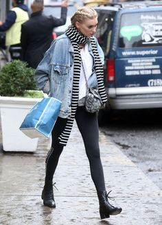 Denim + leggings #streetstyle