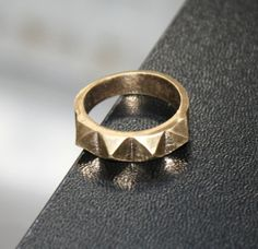 Bedlam Brass 4 stud Ring by ashaloo on Etsy, $40.00