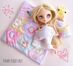 Blythe accessories: Bedding set 1/6 scale by FunkyFairyHut on Etsy