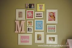 kid's photo & art gallery wall - possible idea for the big wall in the playroom.