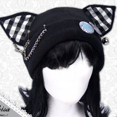 Buy Cat Kitty Fleece Hat Anime Cosplay Punk JRock (Checkered Ears) at Wish - Shopping Made Fun Emo Outfits, Cosplay Outfits, Cute Outfits, Fashion Outfits, Kawaii Fashion, Punk Fashion, Gothic Fashion, Visual Kei, Punk Mode