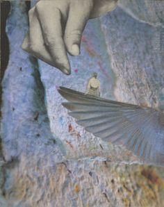"""""""flügel der morgenröte"""", handcut collage, analog collage by papiertänzerin"""