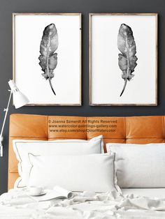 Set of 2 art prints. Two feathers natural painting. Giclee art print wall illustrations. Black and White home decor. Feather art. Native American