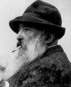 Photographs of Claude Monet. Interesting vintage photos give a glimpse at the world in which Claude Monet lived and then translated into vivid paintings. Pierre Auguste Renoir, Edouard Manet, Monet Paintings, Impressionist Paintings, Landscape Paintings, Claude Monet, Edgar Degas, Artist Art, Artist At Work
