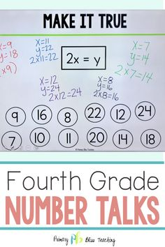 If you are looking for a NO PREP Fourth Grade Yearlong Number Talks Program, look no more. This highly effective Number Talks program is a must have. First Grade Lessons, Teaching First Grade, First Grade Math, Fourth Grade, Math Lessons, Math Fact Practice, Math Talk, Number Talks, Classroom Management Tips