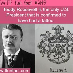 WTF Facts - Page 307 of 1306 - Funny, interesting, and weird facts : Teddy Roosevelt is the only U. President that is confirmed to have had a tattoo - WTF FUN FACTS Wtf Fun Facts, True Facts, Funny Facts, Random Facts, Odd Facts, Crazy Facts, Random Stuff, Strange Facts, Random Things