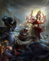 Goddess Maha Shakti as Maa Durga Slaying Demon Buffalo King Mahishasura Kali Goddess, Indian Goddess, Mother Goddess, Navratri Puja, Durga Painting, Durga Images, Mahakal Shiva, Shiva India, Krishna Hindu
