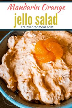 Serve this make ahead Mandarin Orange Jello Salad at your next holiday meal cookout potluck or just to make your people happy. The fresh orange flavor Fluff Desserts, Jello Desserts, Jello Recipes, Dessert Salads, Fruit Salad Recipes, Ww Recipes, Delicious Desserts, Dessert Recipes, Cooking Recipes