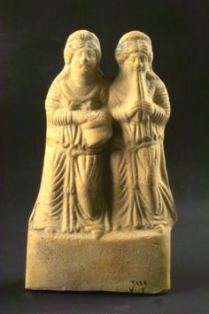 Clay statue of two feminine musicians (Tanajer), Syria,  1st Century BC