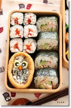Owl Inarizushi (Tofu Porch Sushi) and Sushi Rolls Bento Lunch