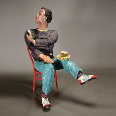 "TONY NATSOULAS (Californian, born 1959) ""Man with Bud Light and Remote Control,"" Glazed ceramic #michaans http://www.michaans.com/highlights/2014/highlights_10052014.php"