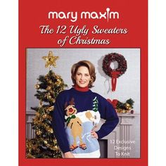 Mary Maxim Ugly Christmas Sweater Book - Be the hit of the next 'Ugly Sweater' party with one of these un-fashionable designs. 12 retro Mary Maxim patterns to knit for the holidays. Ugly Sweater Party, Ugly Christmas Sweater, Thing 1 Thing 2, Mary, Seasons, Patterns, Retro, Knitting, Ravelry