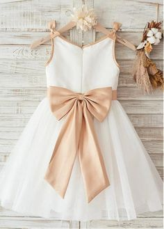 6acab08b529e Modern Satin & Lace Scoop Neckline Knee-length A-line Flower Girl Dresses  With Bowknot