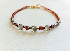 Red Cube Garnet Smoky Quartz Natural Gemstone Bracelet Faceted Beaded Stacking Gemstone Wristband