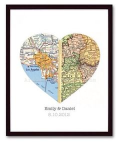 Custom Map Heart Wall Art. Names and date. Wedding gift on Etsy, $19.99