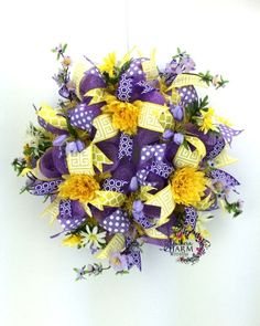 Deco Mesh Spring Wreath in Yellow & Purple with tulips by www.southerncharmwreaths.com - spring door wreath