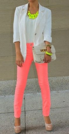 OBSESSED! White on pink plus neon? Yes please