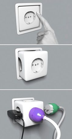 Pop out Sockets. So clever. Pinned to FOR . THE . HOME