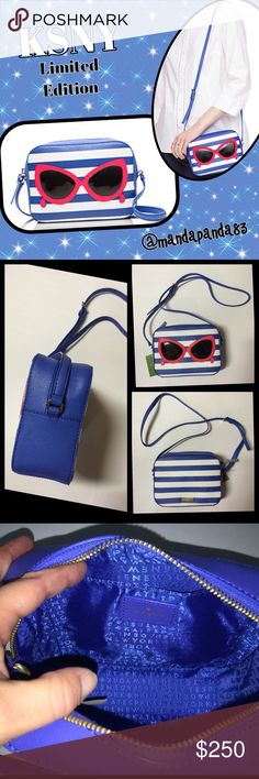 """Kate Spade """"make a splash"""" Sunglasses Xbody NWT  This one was very hard to list... This is one of the cutest and most desirable bags I've seen! It us sophisticated yet whimsical! It is blue & white striped with cute sunglasses on the front. The bag is striped with the logo plague. Mindy WKRU3663. Limited Edition and no longer sold in stores! Thank you!  kate spade Bags Crossbody Bags"""