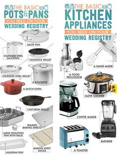 It's 6 months out and it's time to register for your wedding gifts.  Some couples find this task fun and exciting while others find it daunting and overwhelming.  Regardless people like to purchase gifts and a registry is important.  This is a great article on the items you should have on your registry for your kitchen and why.