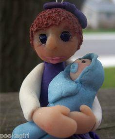 OOAK ART Ornament Big Sister w/ baby boy Polymer fairy by Jessica Wolf Pookagirl