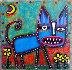 """""""Caught In The Garden"""" an acrylic cat painting on wood Artist: Tracey Ann Finley"""