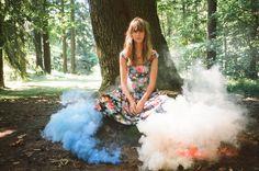 colourful smoke bombs