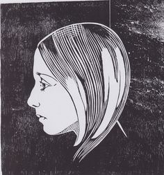 Aksel Waldemar Johannessen, portrait of his daughter, Printmaking, Screen Printing, Graphic Art, Carving, Sculpture, Etchings, Block Prints, Inspiration, Illustration