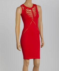 Another great find on #zulily! 3R Street Wear Red Shirred Cutout Zel Bodycon Dress by 3R Street Wear #zulilyfinds