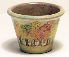 Autumn Maple Trees Painted Clay Pot Fall by BetweenTheWeeds, $16.00