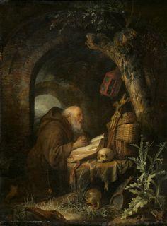 Gerrit Dou (1613 - 1675), The Hermit, 1670. Oil on oak panel, 46 x 34.5 cm (18 1/8 x 13 9/16 in.).